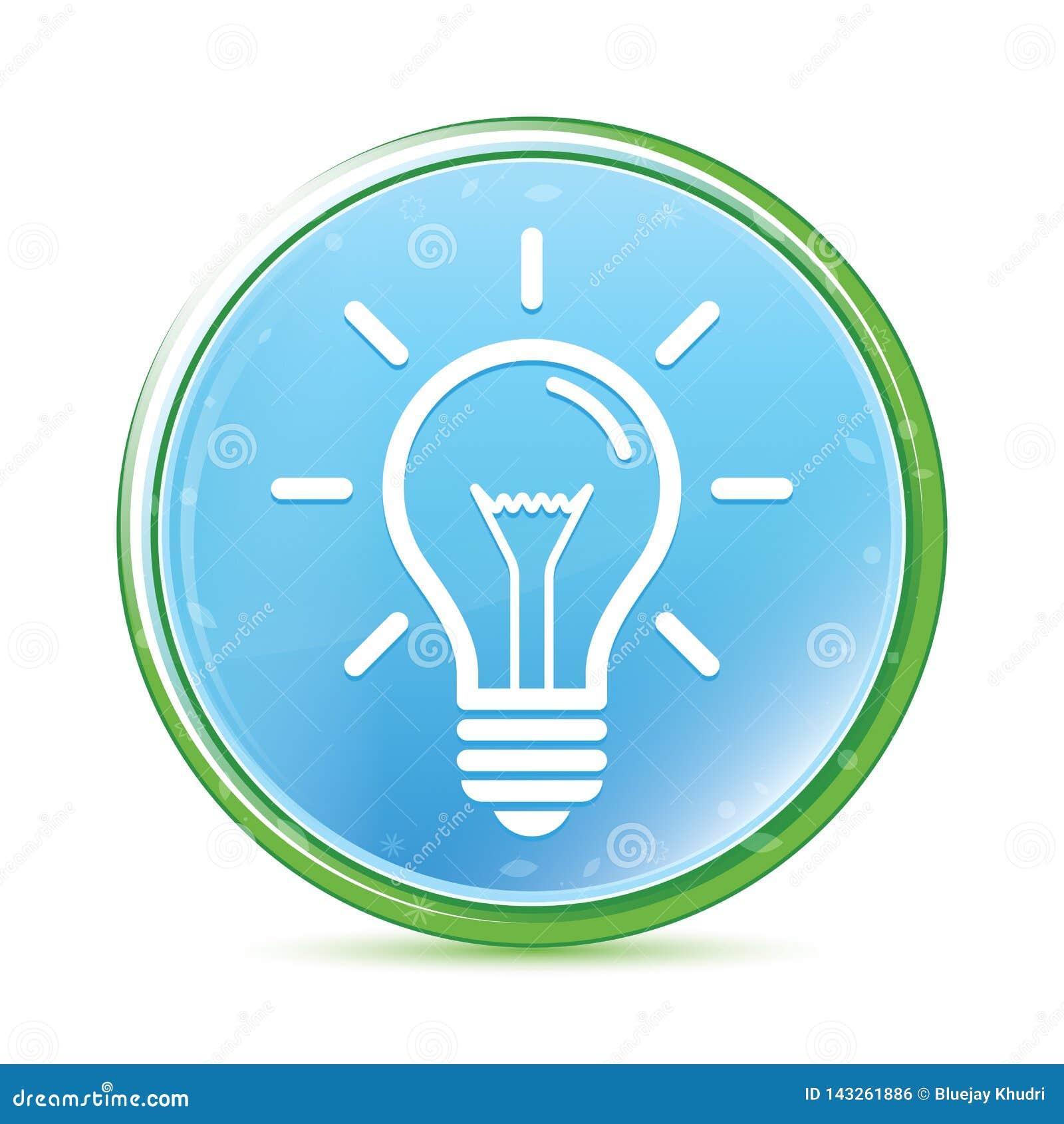 Bouton rond bleu cyan d aqua naturel d icône d ampoule