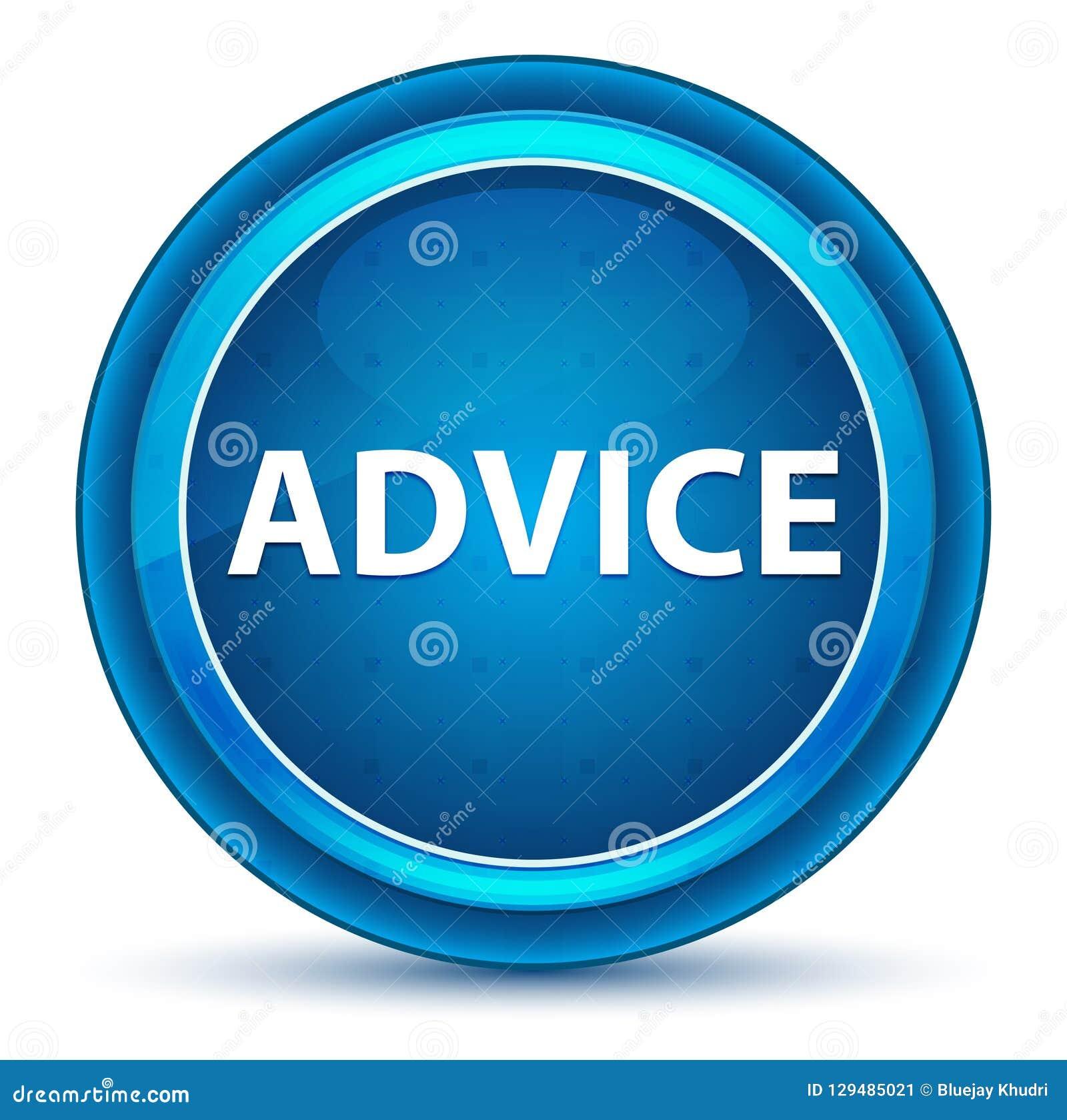 Bouton rond bleu de globe oculaire de conseil