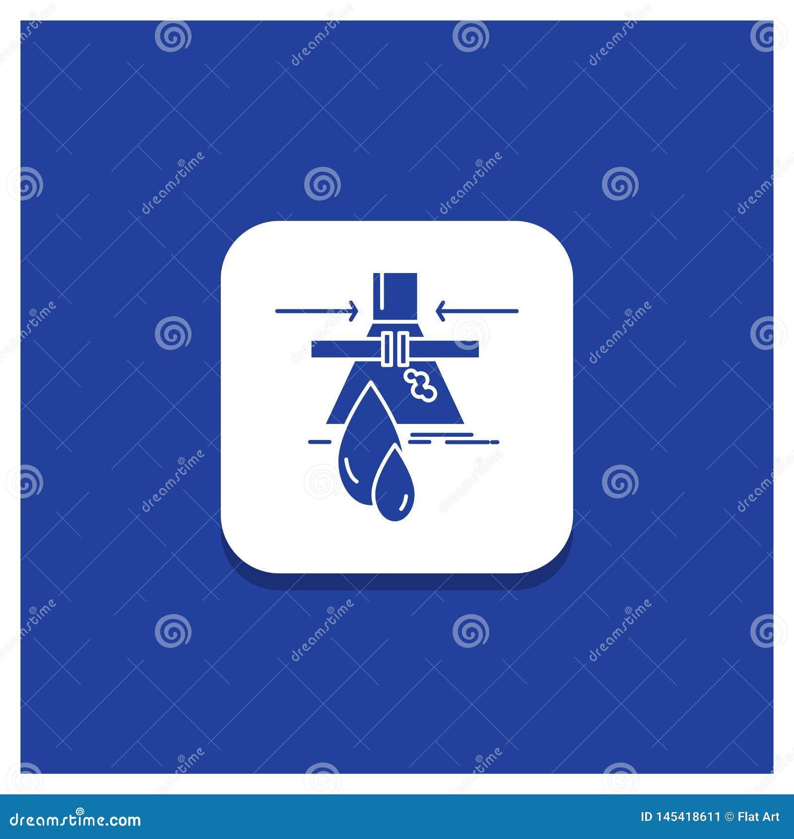 Bouton rond bleu pour le produit chimique, fuite, détection, usine, icône de Glyph de pollution