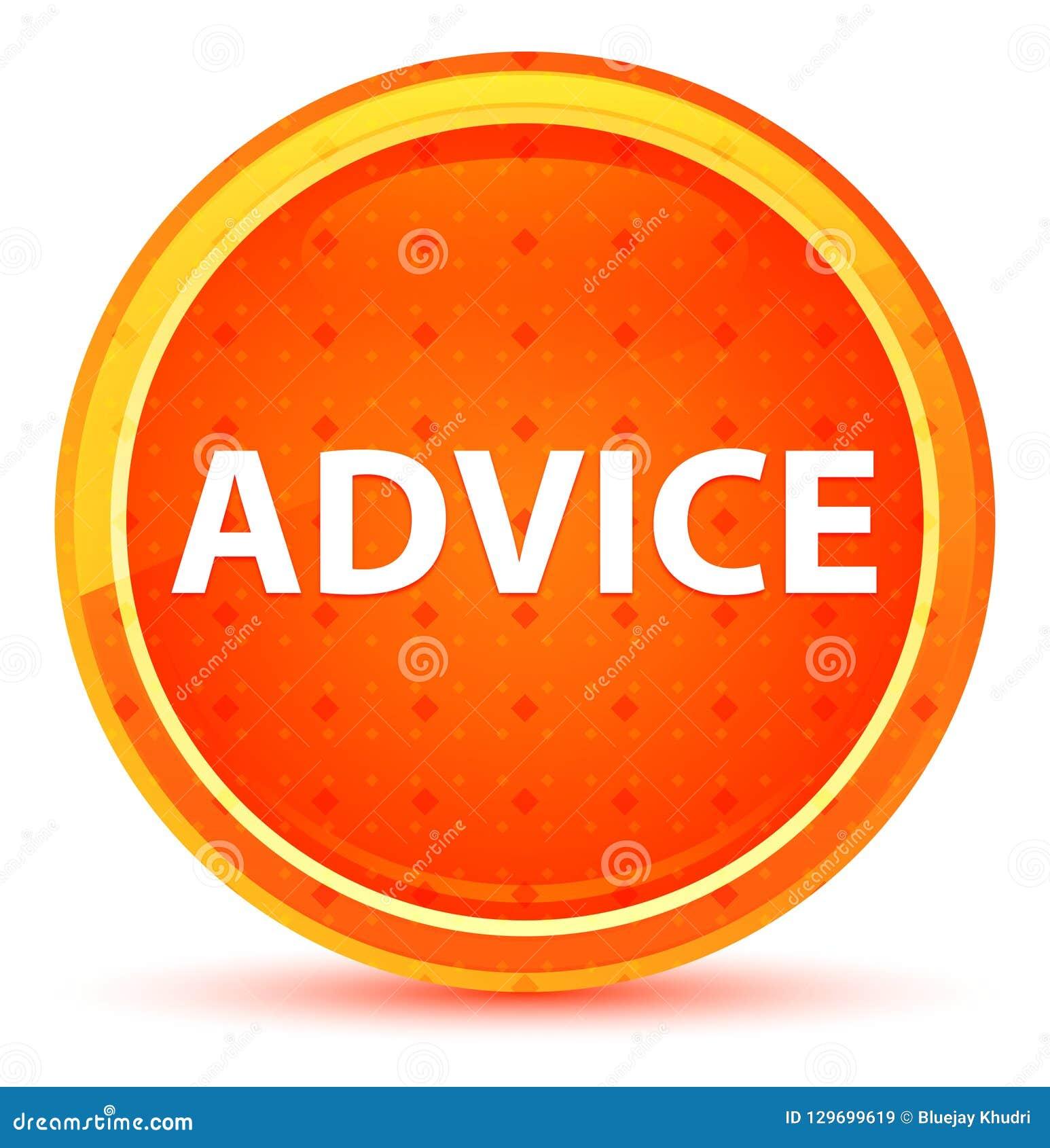 Bouton rond orange naturel de conseil