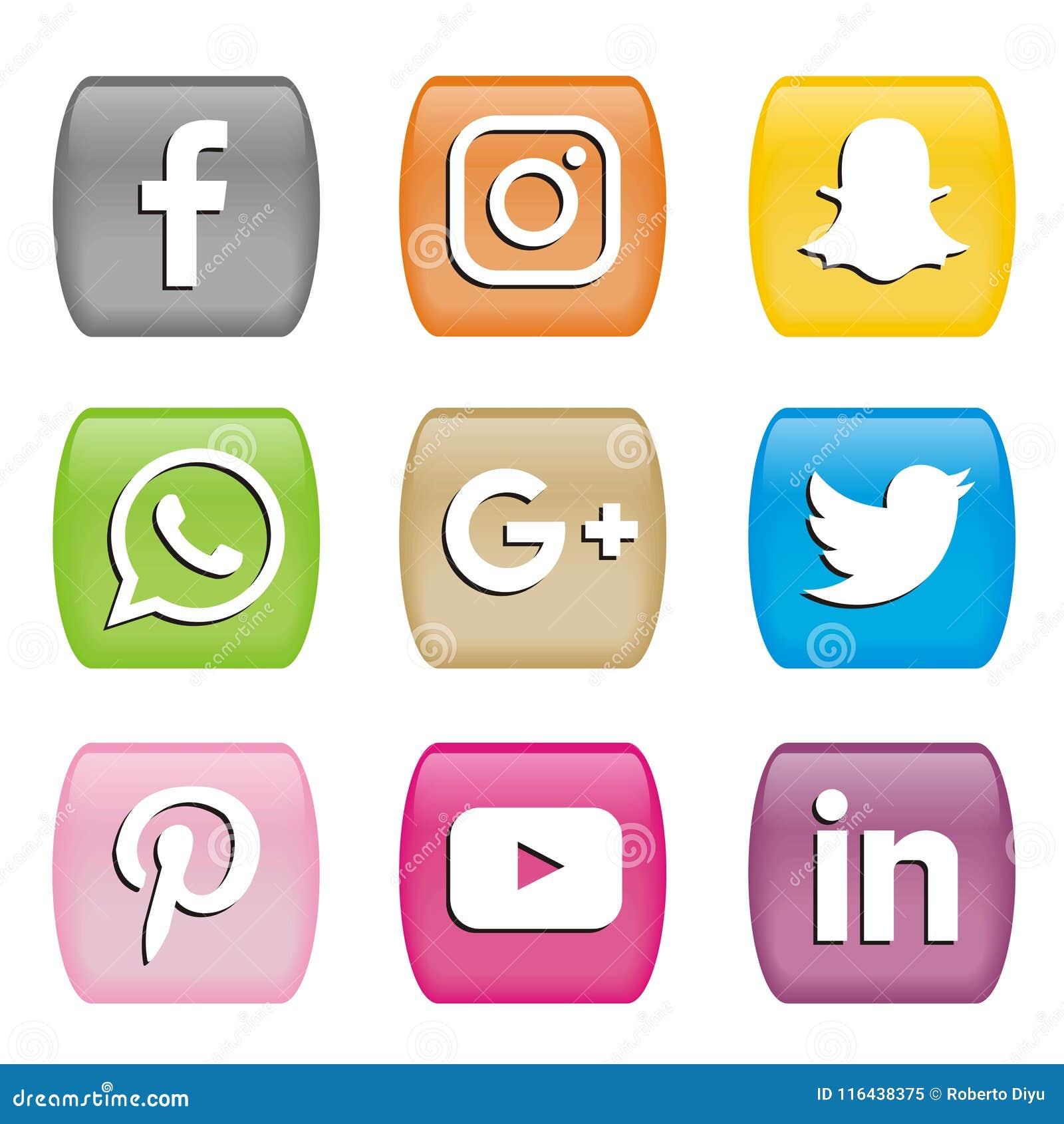 Boutonne des icônes des logos sociaux de media