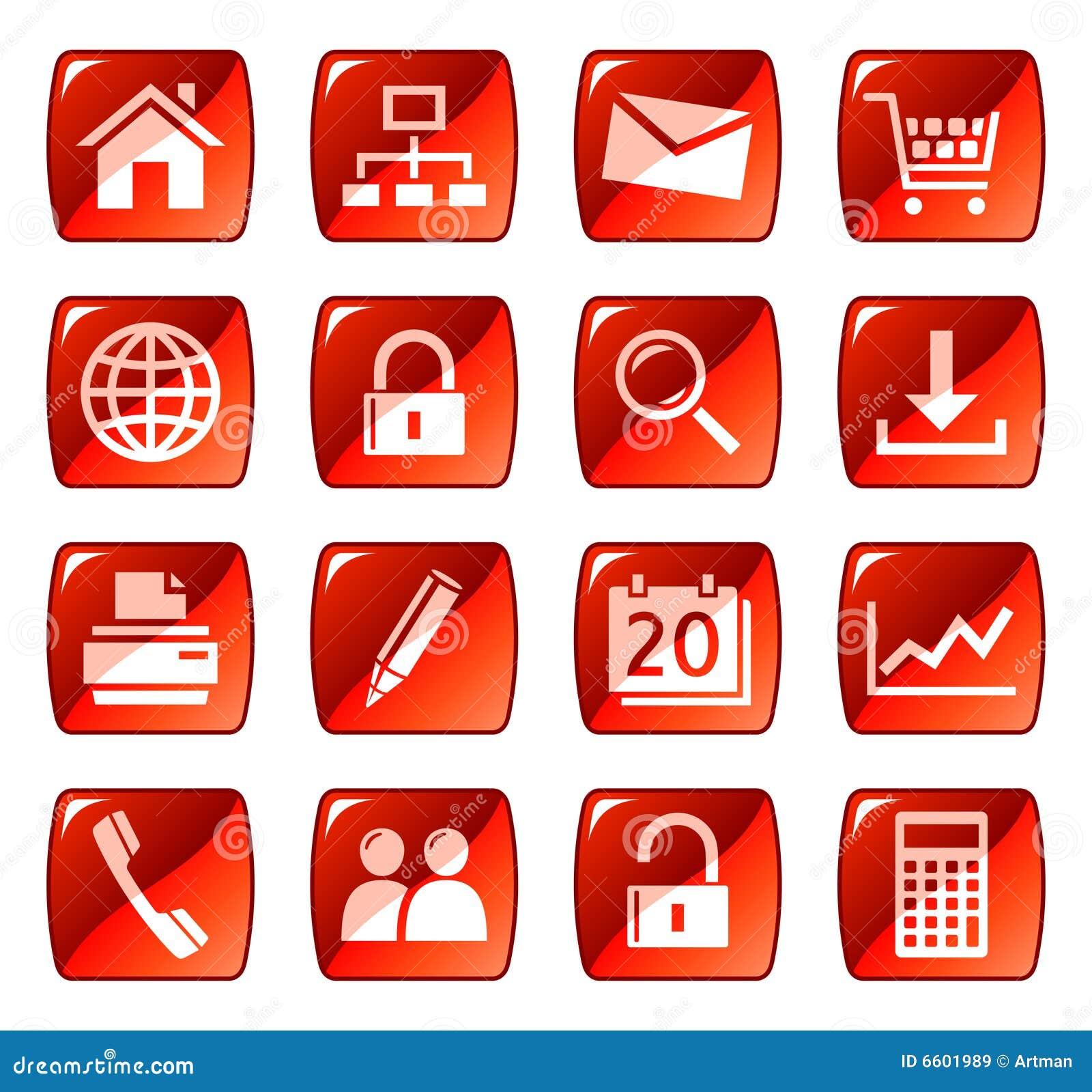 Boutonne le Web de rouge de graphismes