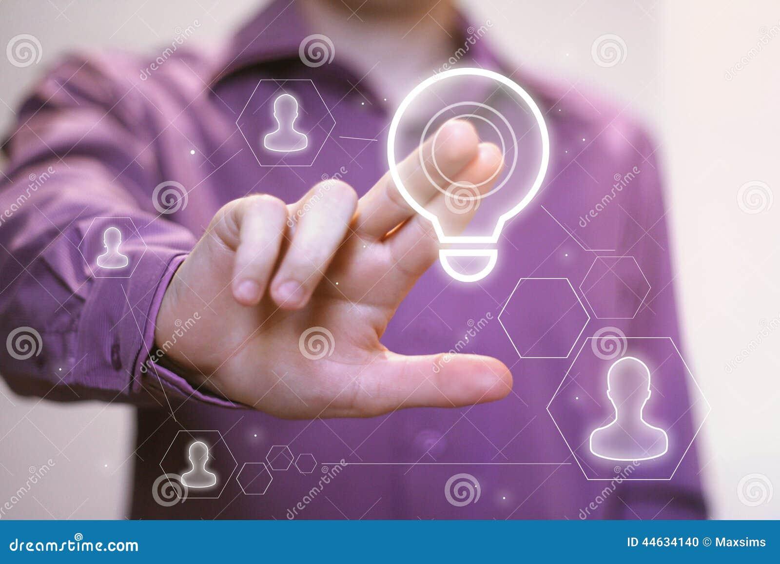 Boutonnez l icône en ligne de société de commercial d ampoule d idée