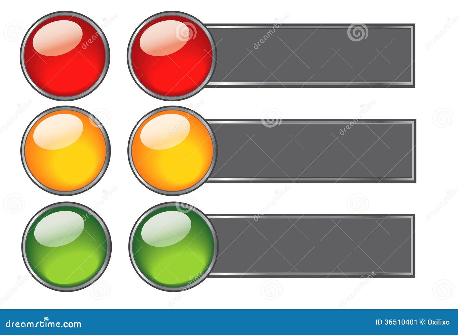 Boutons avec des couleurs de feu de signalisation pour le web design