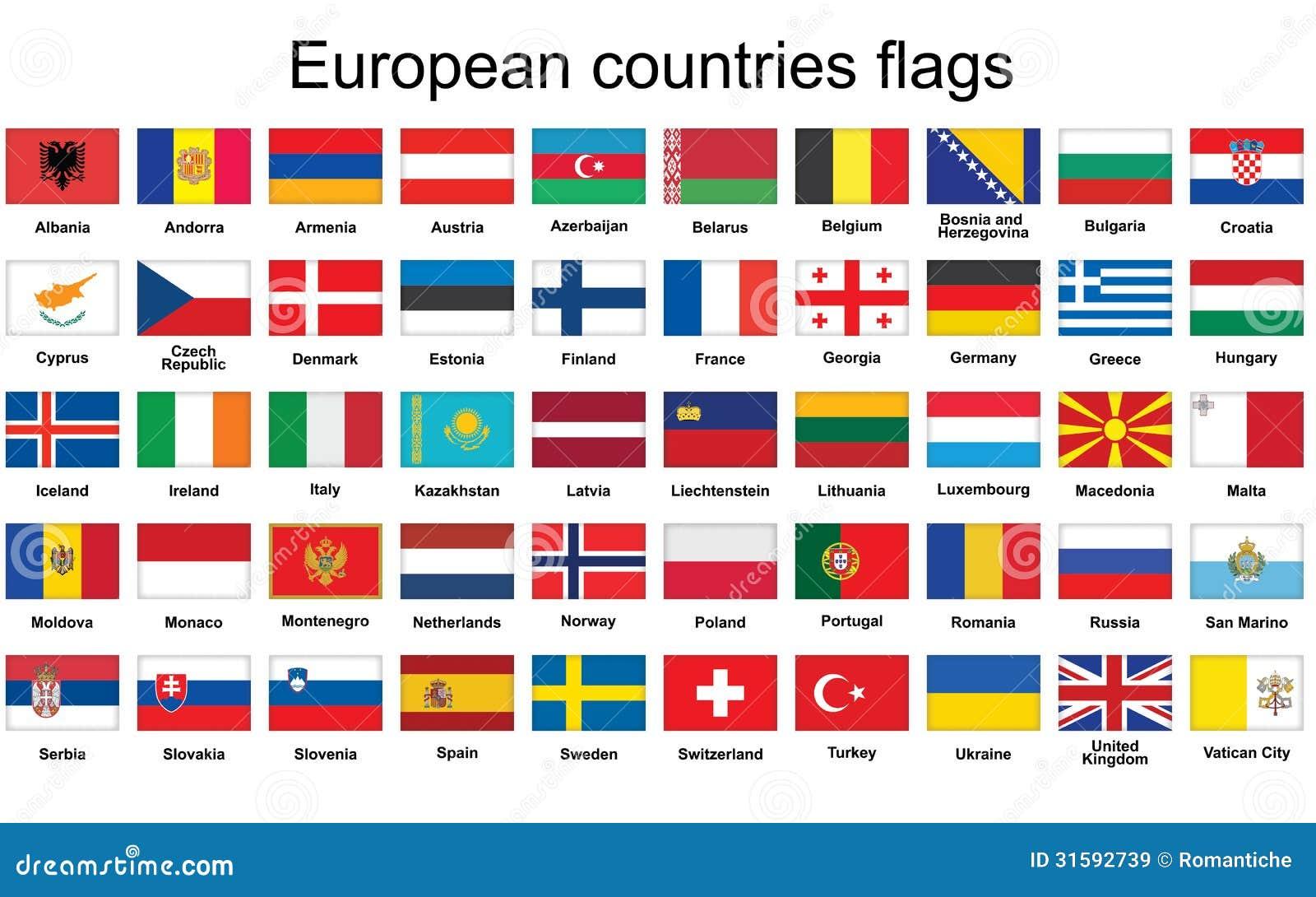 Très Boutons Avec Des Drapeaux De Pays Européens Illustration de  OY89
