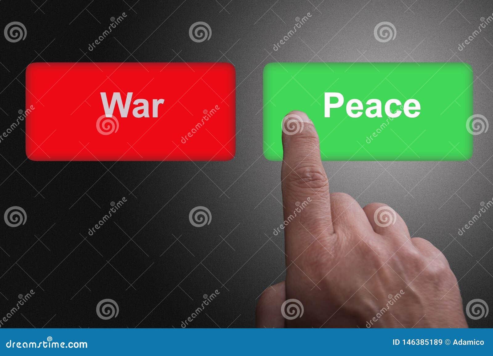 Boutons avec la guerre et la paix et le doigt écrits de pointage, sur un fond gris de gradient