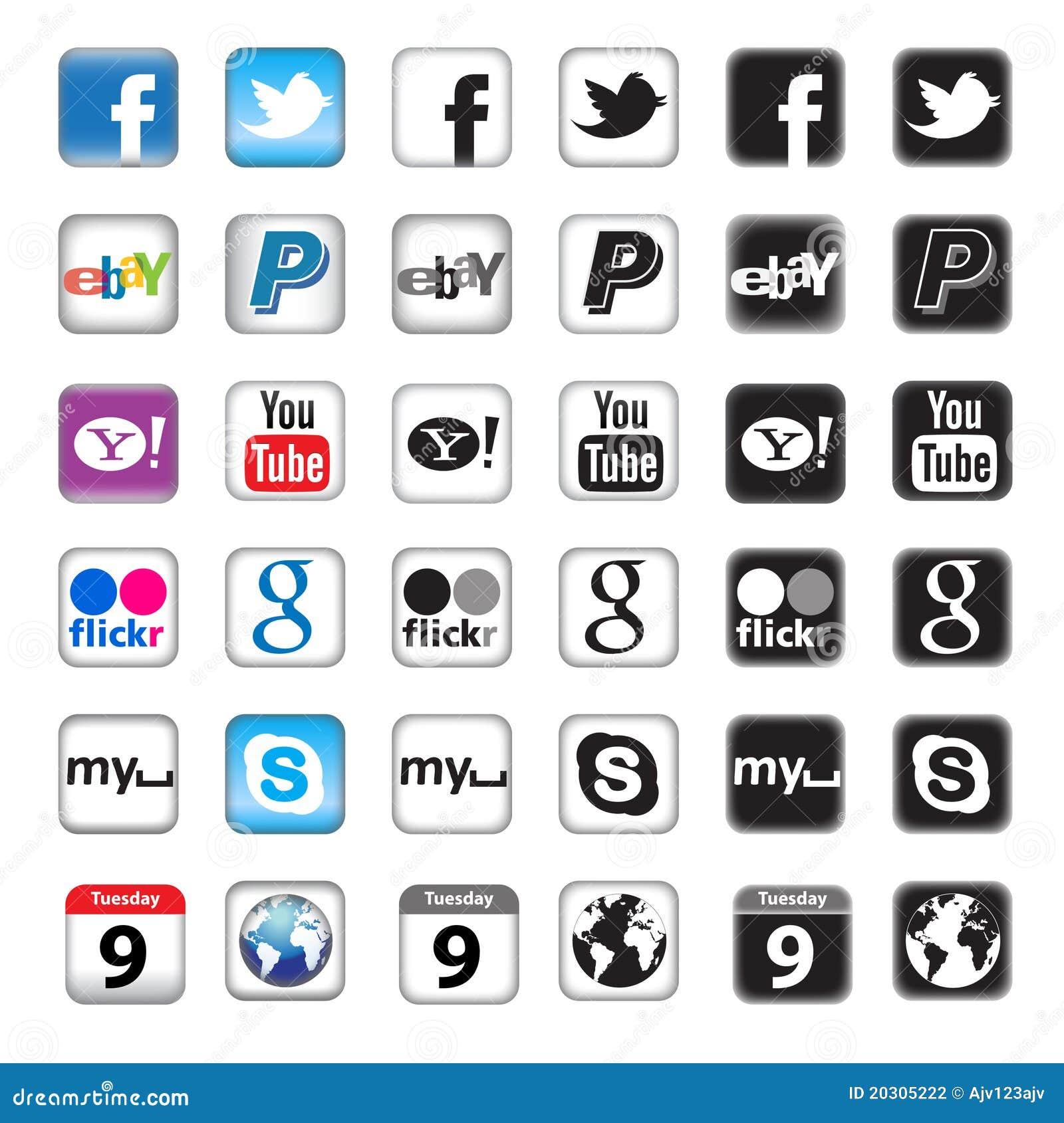 Boutons d Apps pour la gestion de réseau sociale