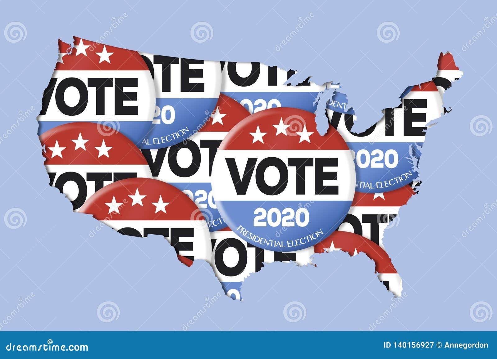 élections présidentielles 2020 carte 2020 Boutons De Vote De Campagne Et Carte Des USA Illustration