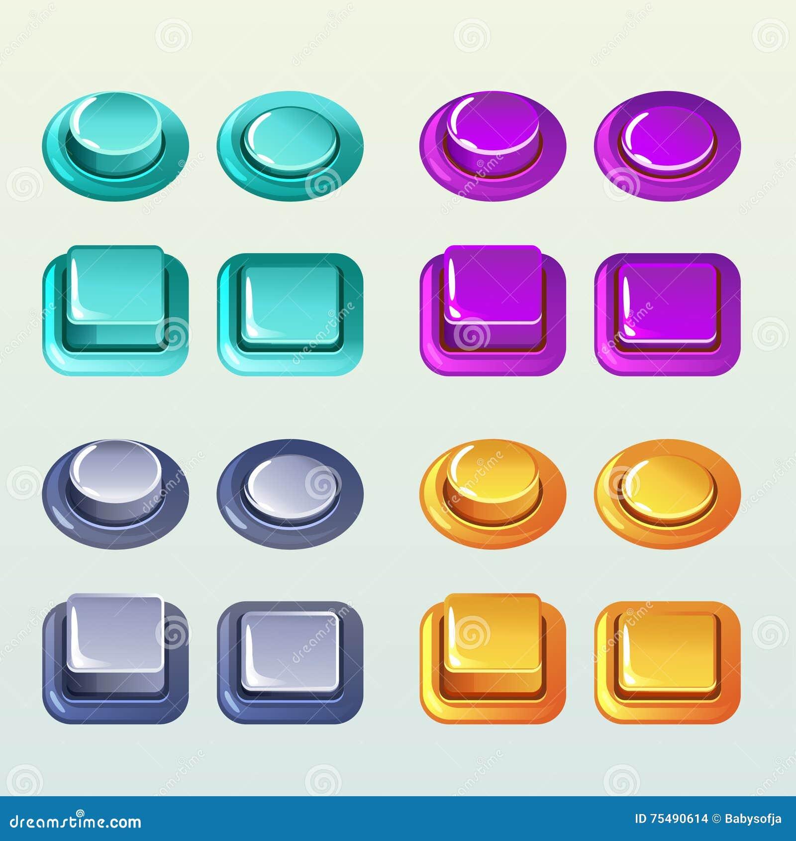 Boutons poussoirs pour un élément de jeu ou de web design, Set2