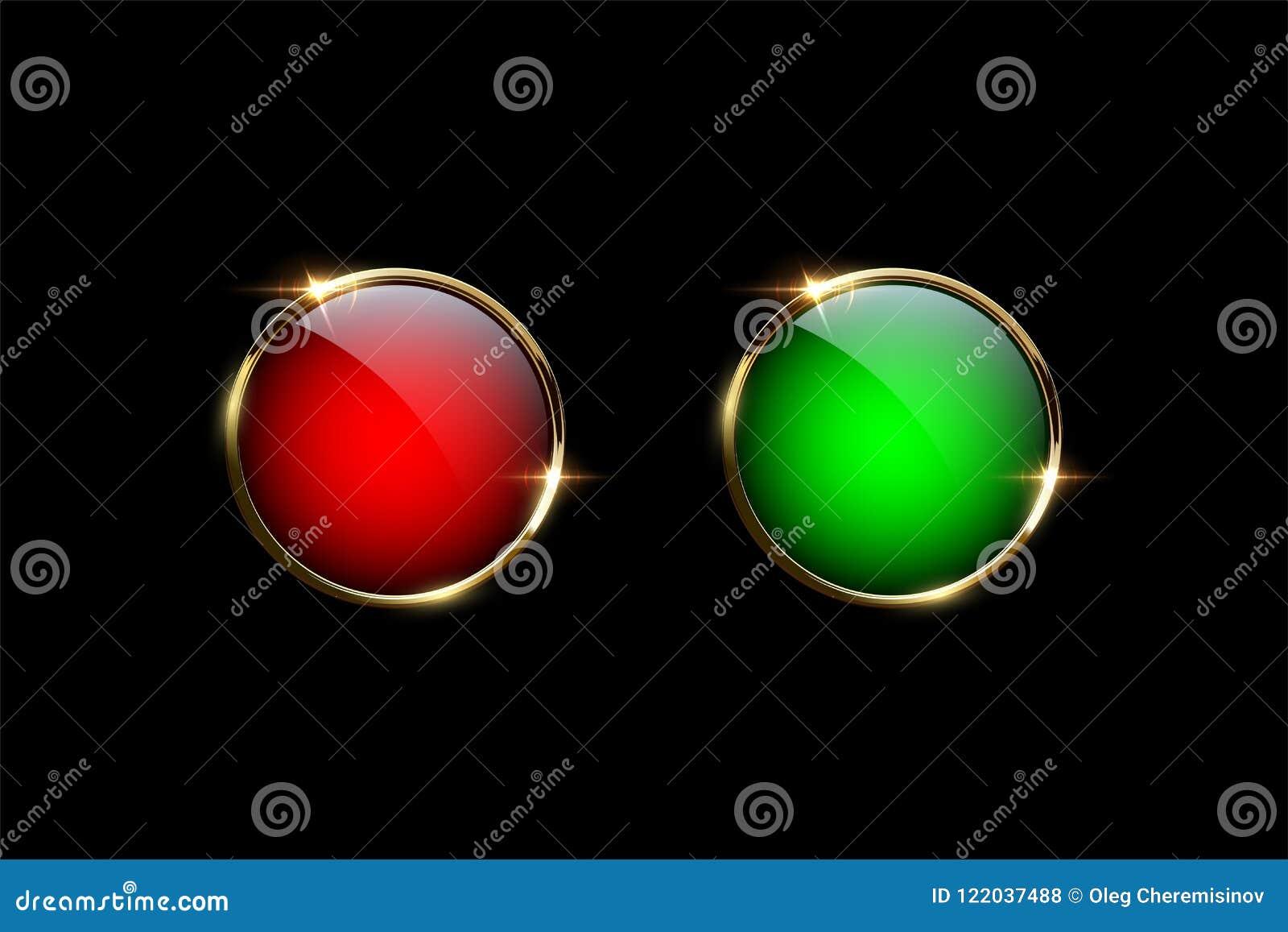 Boutons rouges et verts avec les anneaux d or d isolement sur le fond noir Éléments de conception de vecteur