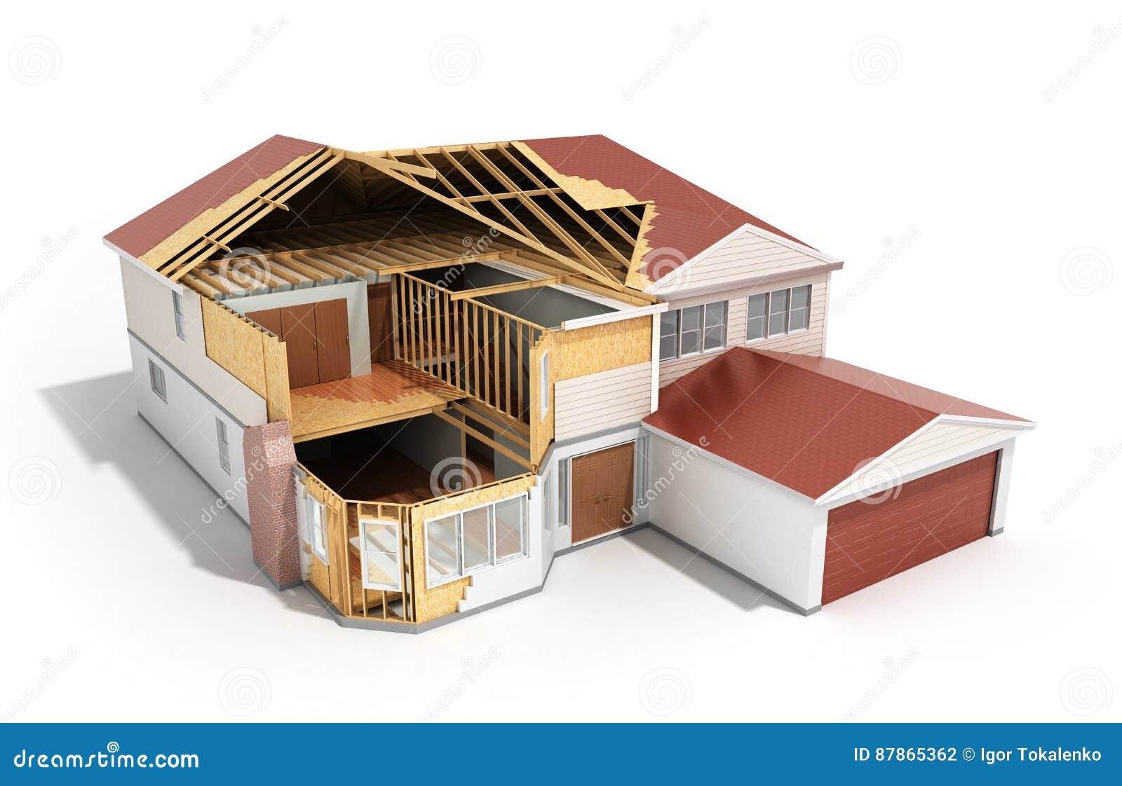 Bouw Huis het Driedimensionele 3d beeld op witte backgroun teruggeeft
