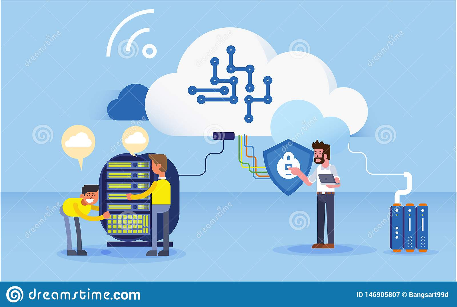 Bouw van de illustratie gegevens van de bedrijfsbureauwebsite