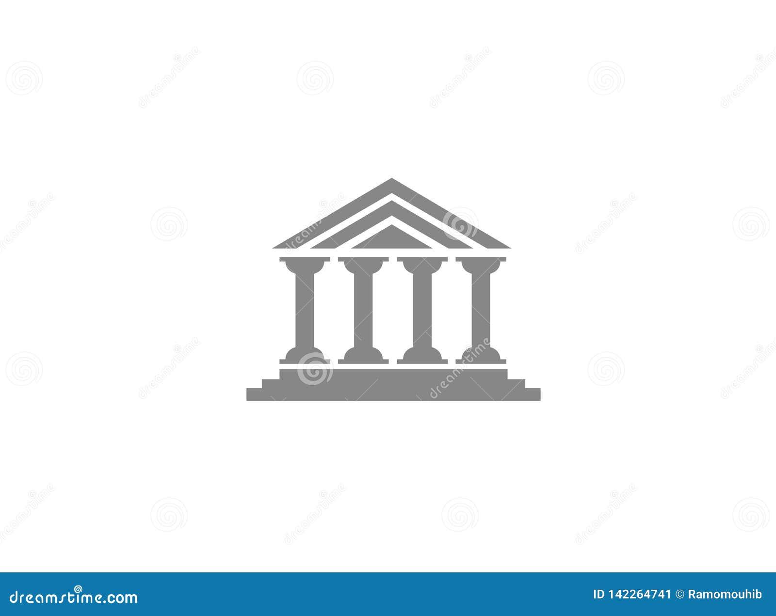 Bouw van de kolommen roman tempel voor embleem