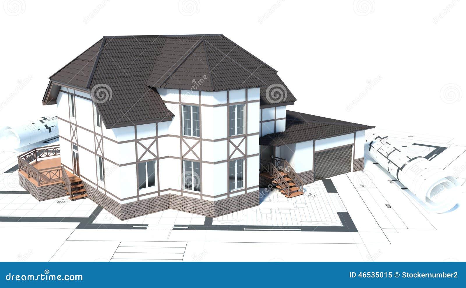 Bouw van huizen tekeningen 3d illustratie stock for Architecte 3d metier