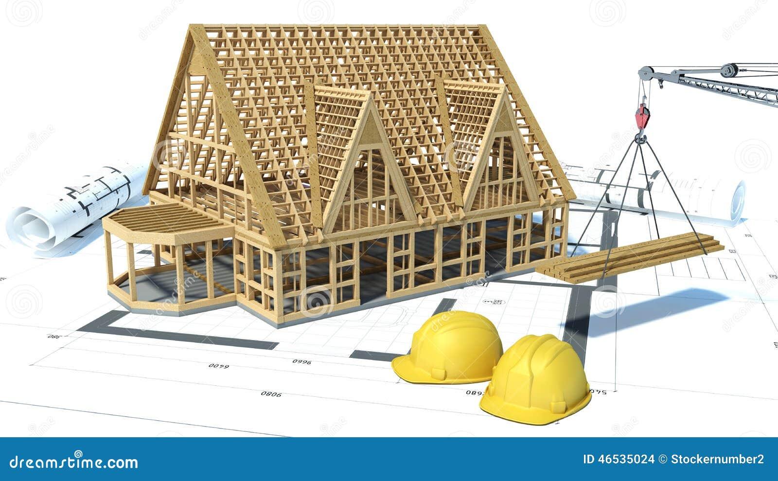 Bouw van huizen tekeningen 3d illustratie stock - Casa de materiales de construccion ...
