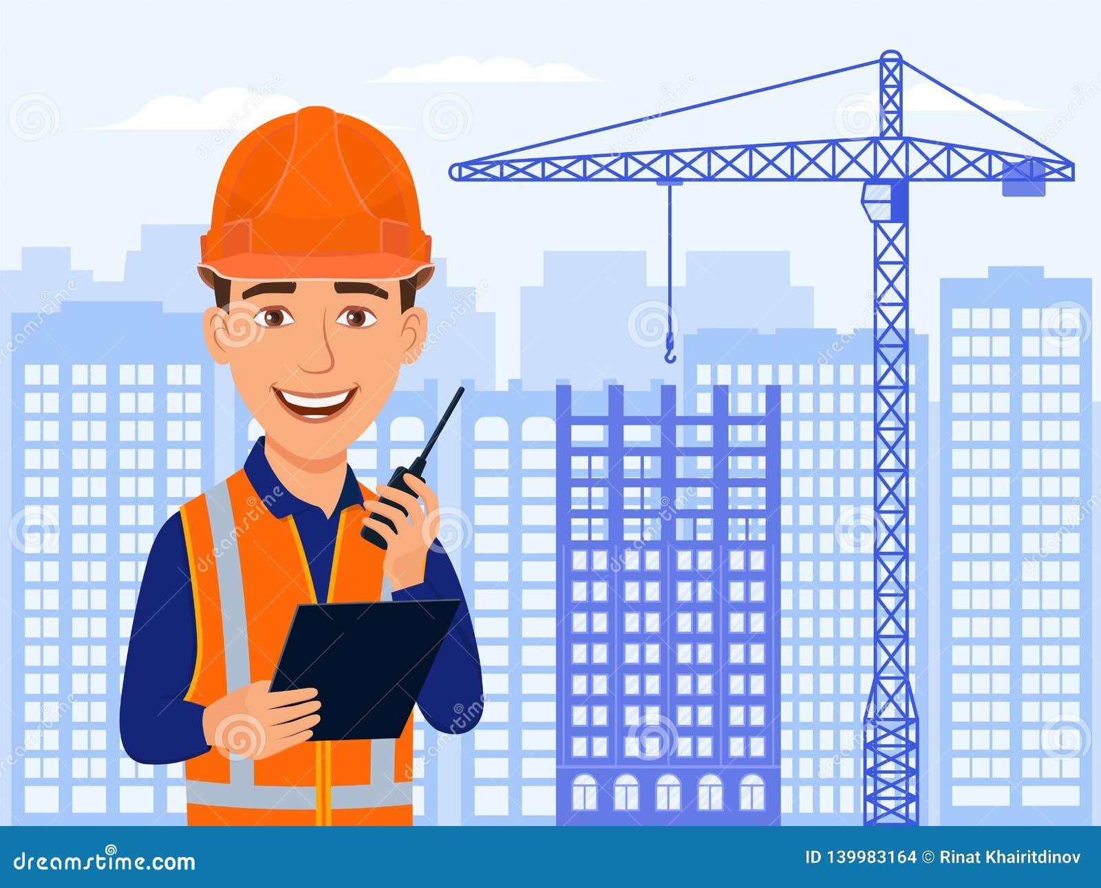 Bouwer, civiel-ingenieur, het karakter van het glimlachbeeldverhaal Stadsmening, wolkenkrabbers, huis in aanbouw en kraan