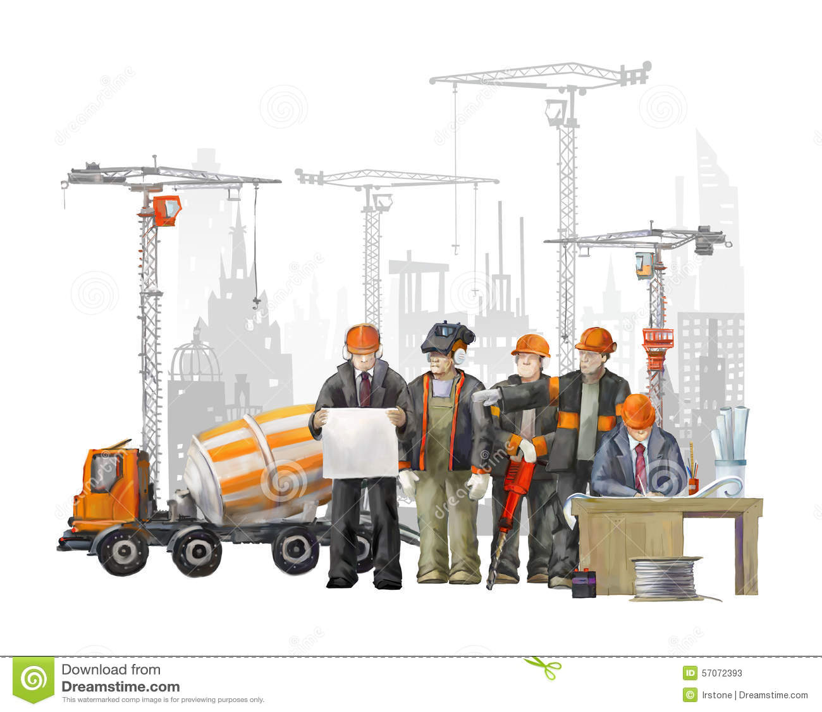 Bouwers op het bouwterrein Industriële illustratie met arbeiders, kranen en concrete mixermachine