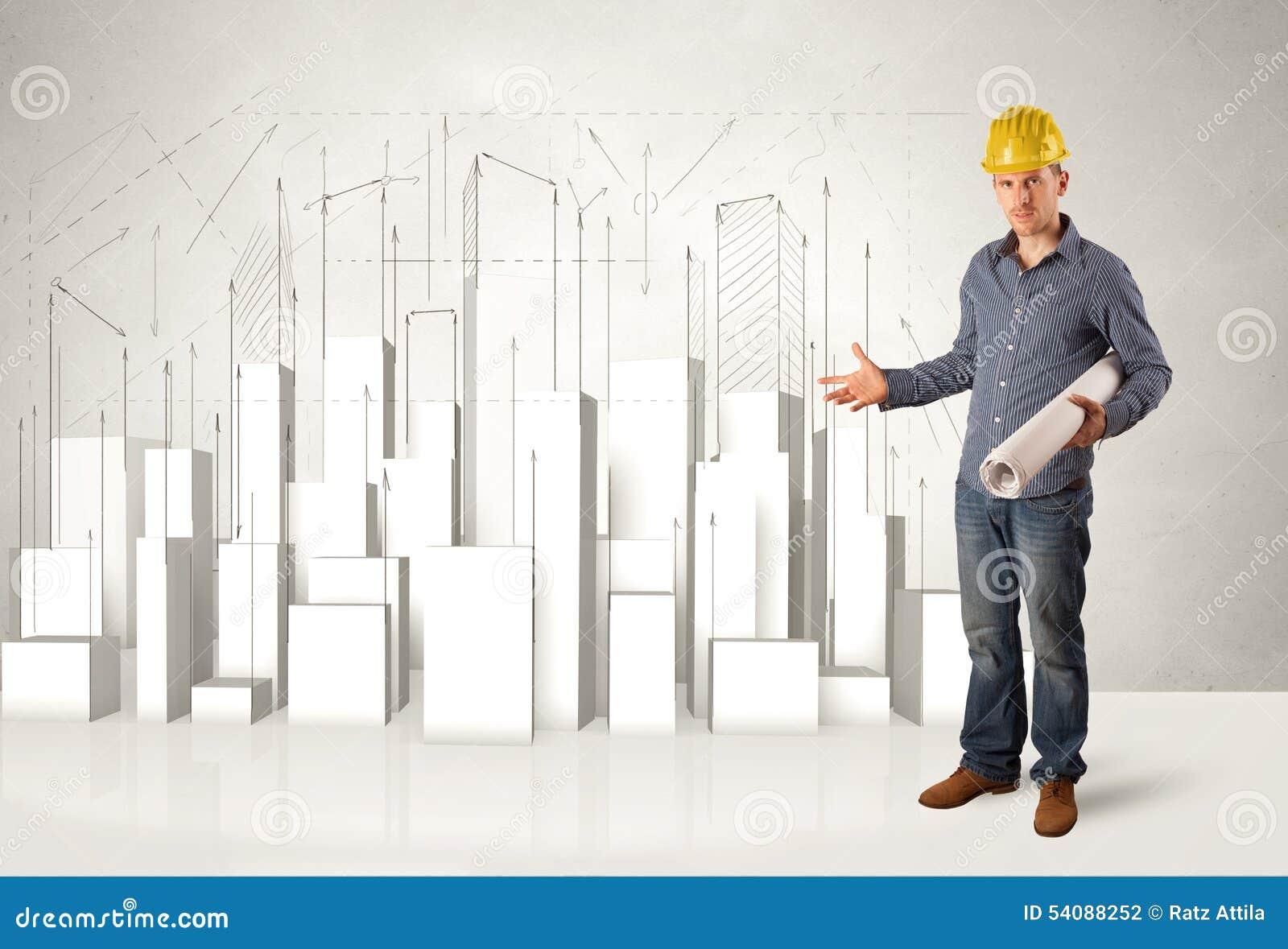 Bouwvakker het schaven met 3d gebouwen op achtergrond