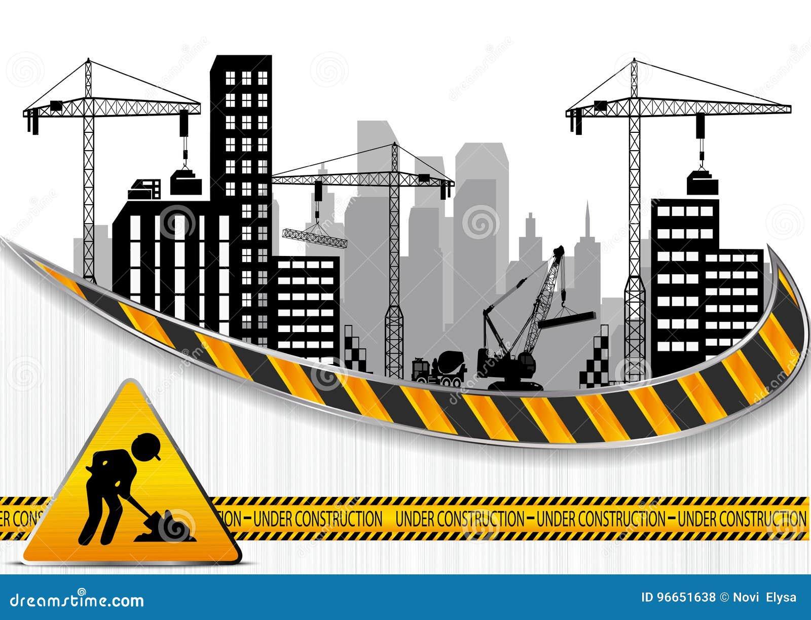 Bouwwerven met gebouwen en kranen