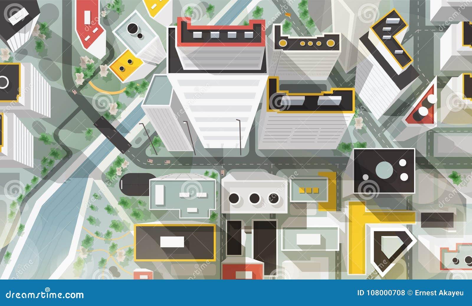 Bovenkant, antenne of vogels oogmening van stad met gebouwen van moderne architectuur, wolkenkrabbers, straten, rivier en brug
