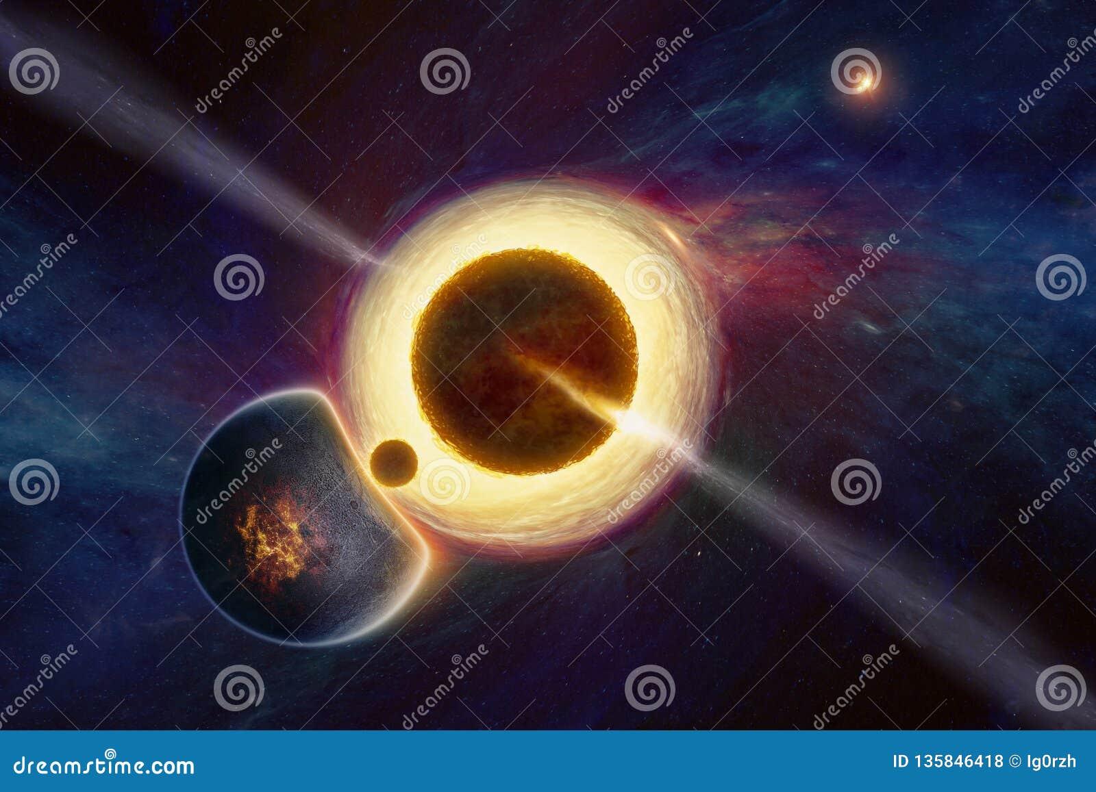 Bovennatuurlijke buitenaardse het levensvorm in diepe kosmische ruimte dichtbij supermassive zwart gat