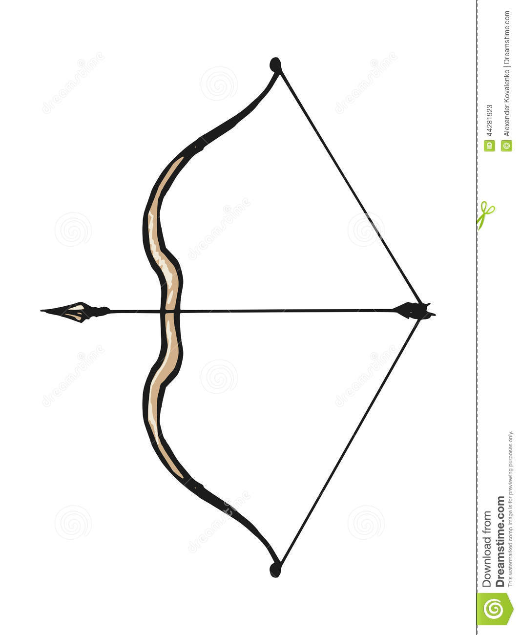 Hand drawn, doodle, sketch illustration of bow and arrow.