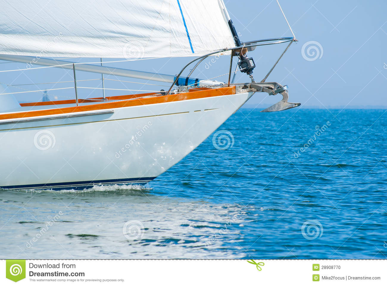 Bow Of A Beautiful Sailboat In The Water Stock Photo - Image: 28908770