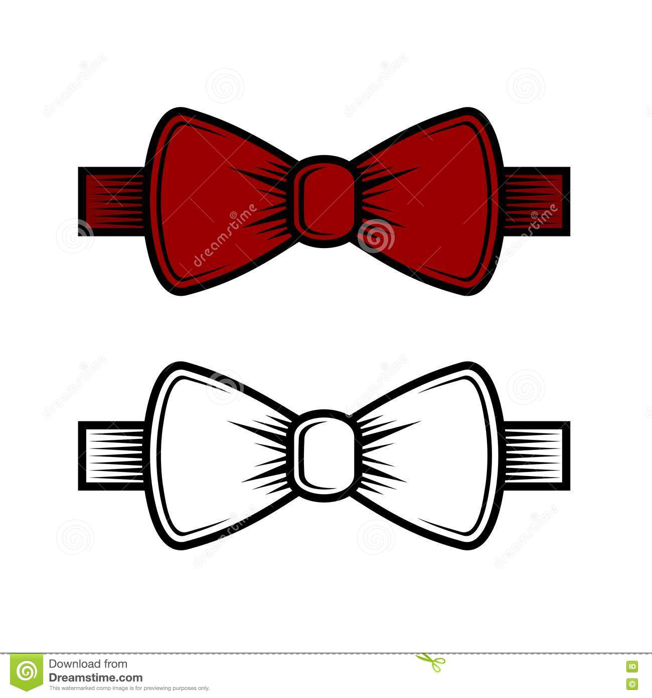 Bow Tie Icons Set. Red and White. Vector