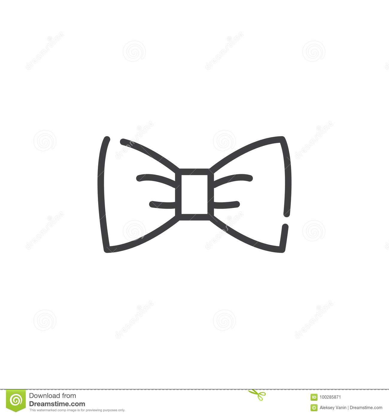 Bow Tie Line Icon Stock Vector Illustration Of Classic 100285871