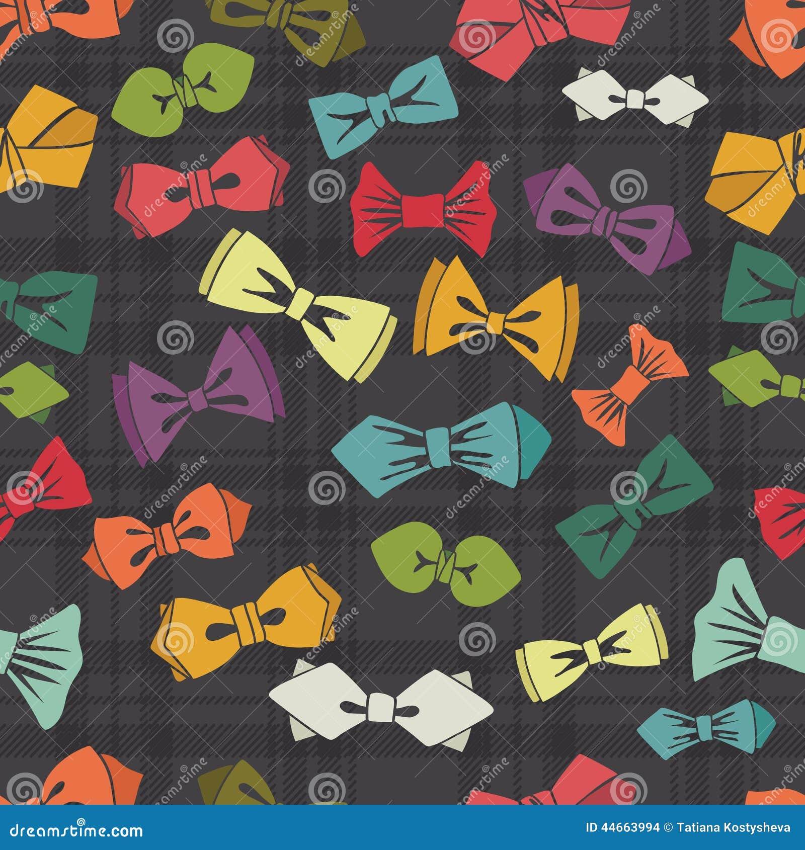 bow tie seamless patterntartan backgroundvector stock