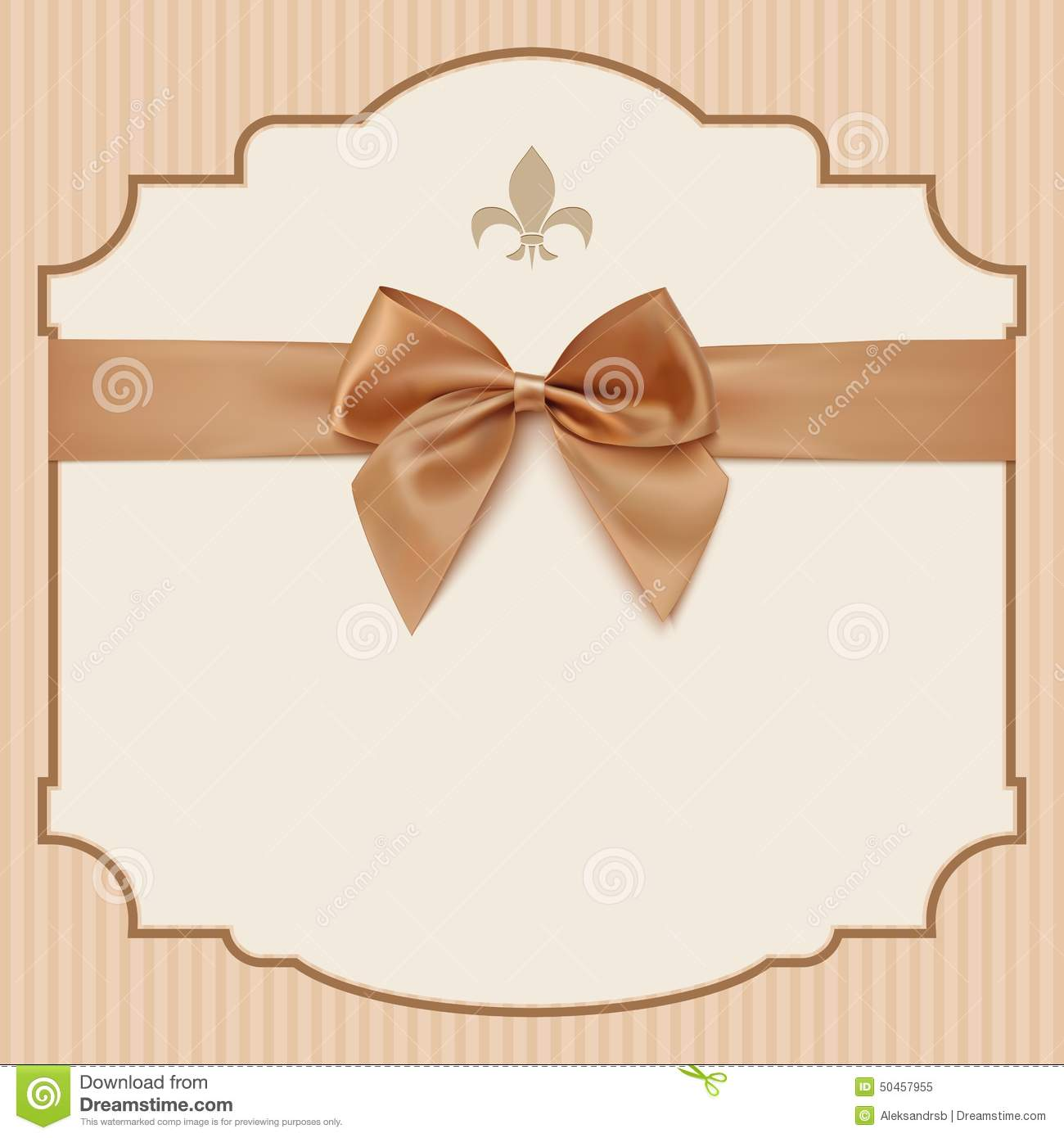 Bow Wedding Invitation Card Vintage Greeting Card Stock