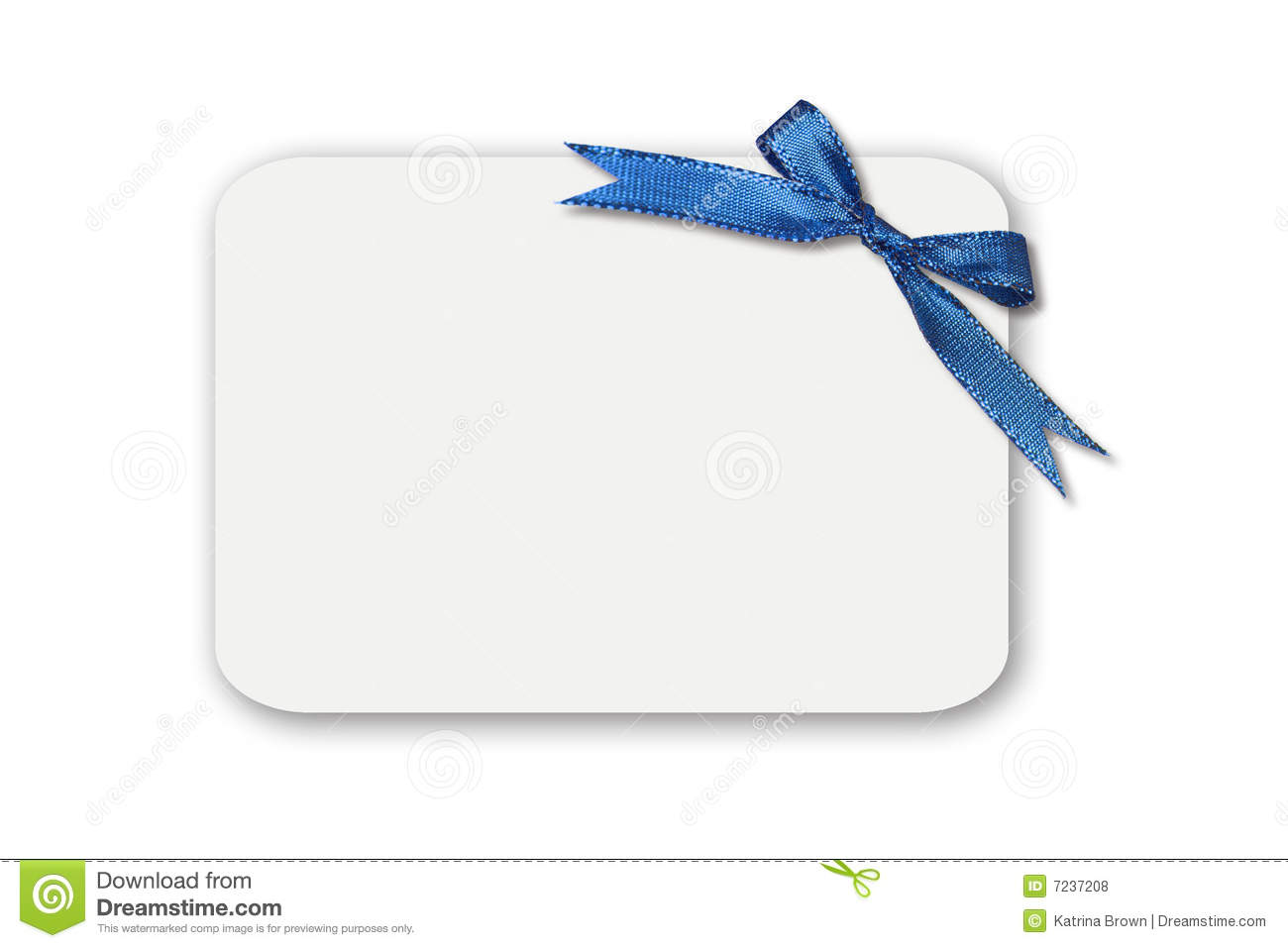 Bow On A White Blank Gift Card Royalty Free Stock Photos - Image ...
