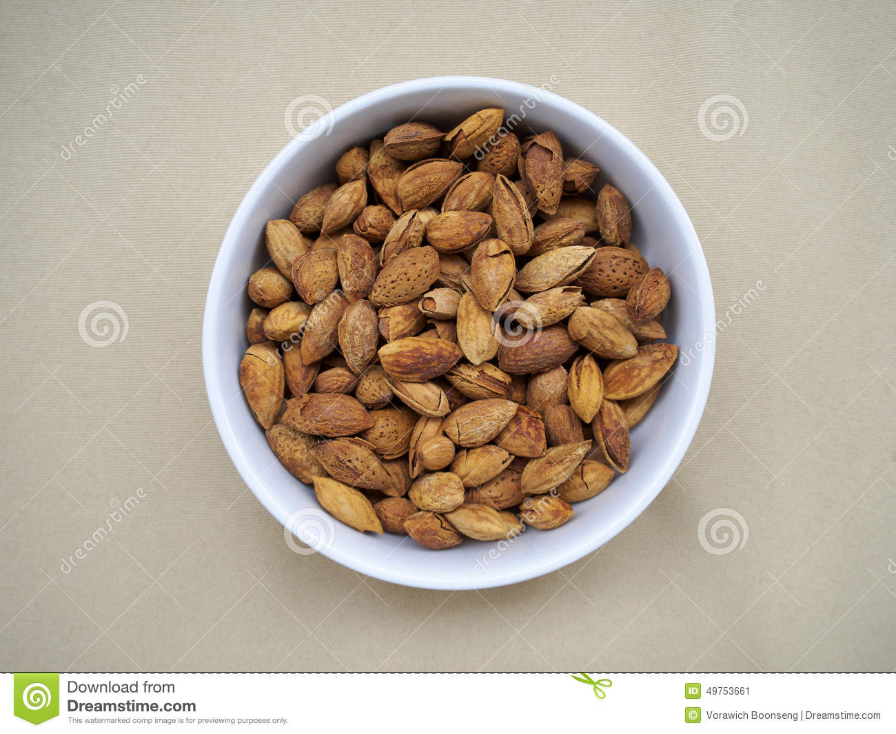 Bowl of almonds on canvas stock image. Image of bowl ...