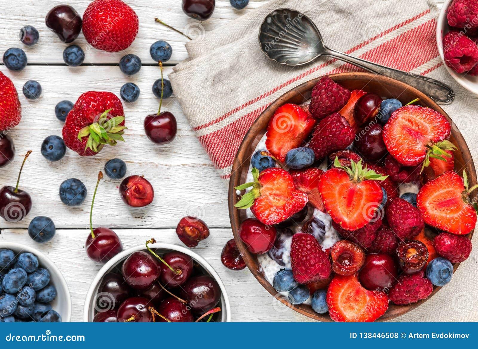 Bowl Of Berry Yogurt Or Chia Pudding With Fresh Raspberries