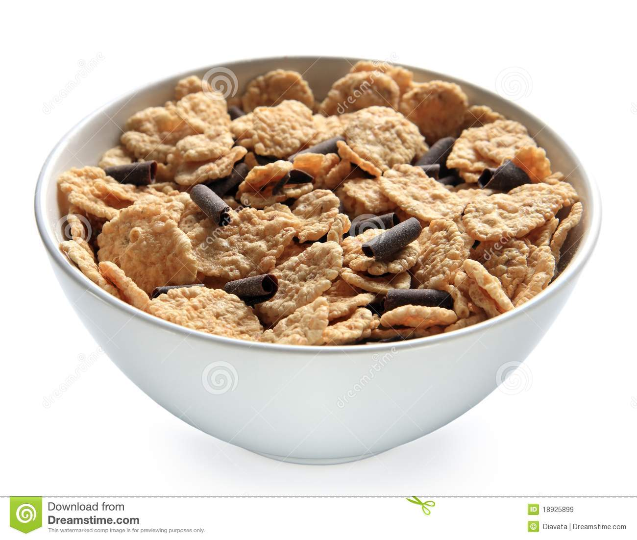 Bowl Of Bran Cereal With Chocolate Curls Stock Image