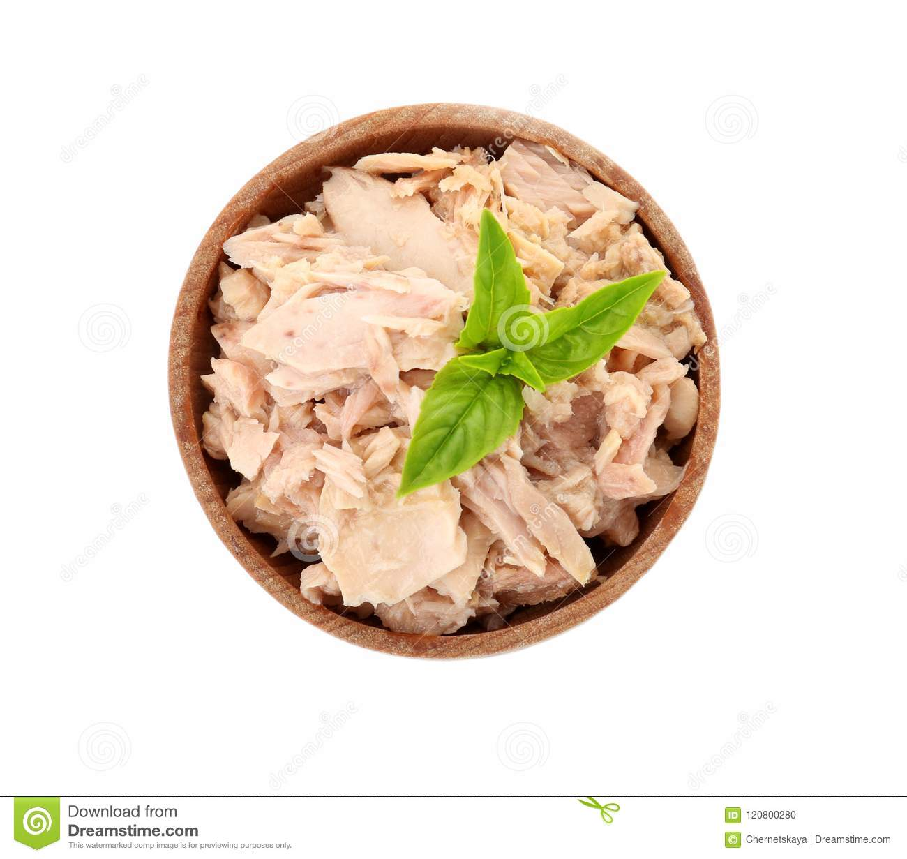 Bowl with canned tuna on white background