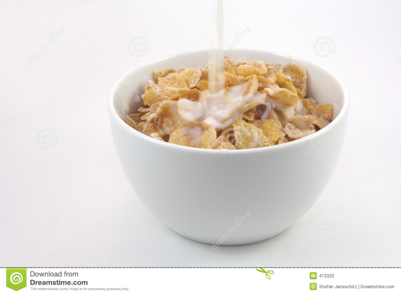 Bowl Of Cornflakes And Milk Bowl of cereal with milk