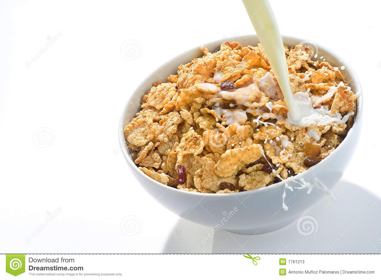 Bowl Of Cereal With Raisins And Milk Stock Image - Image ...