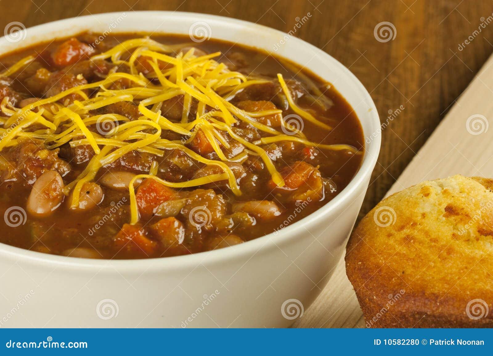 Bowl Of Chili Clip Art Bowl of chili with cornbread