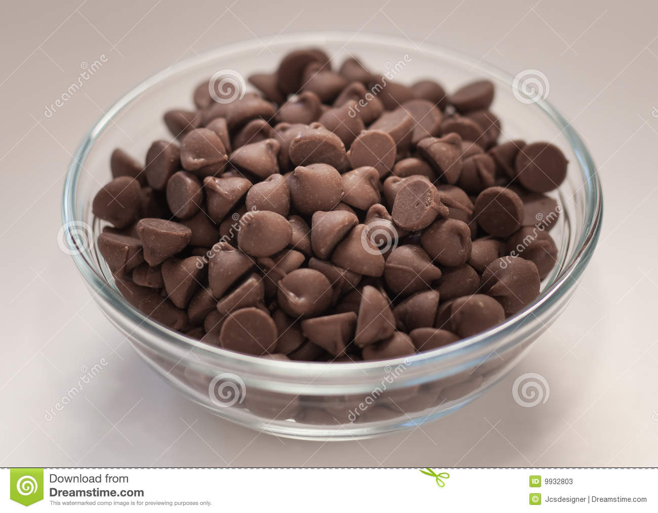 bowl of chocolate chips stock photos