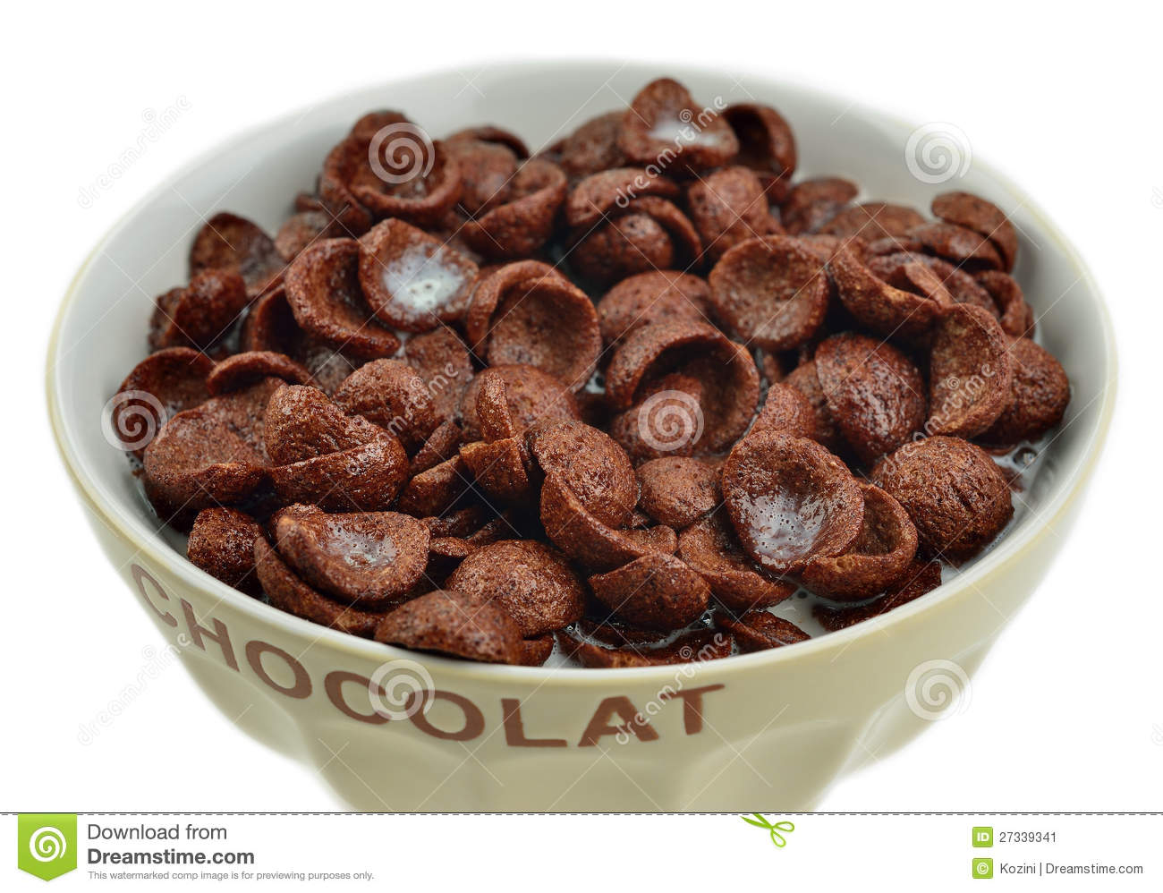 Bowl Of Chocolate Flakes, Cereals Stock Image - Image: 27339341