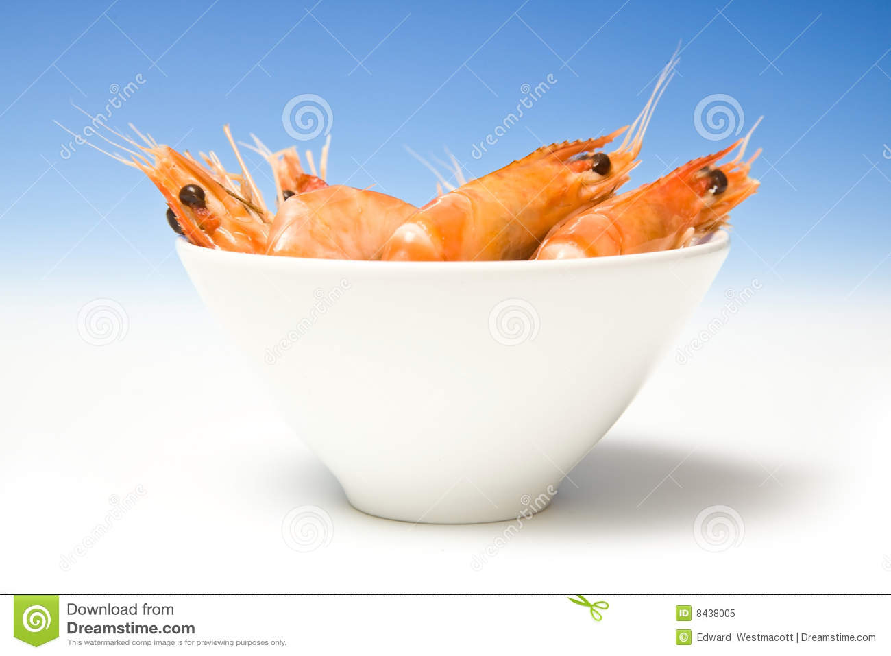 Bowl of cooked prawns