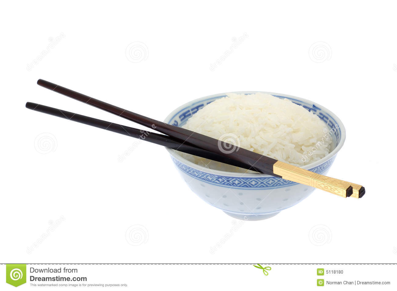 Bowl Of Cooked Rice With Chopsticks Stock Photo - Image ...
