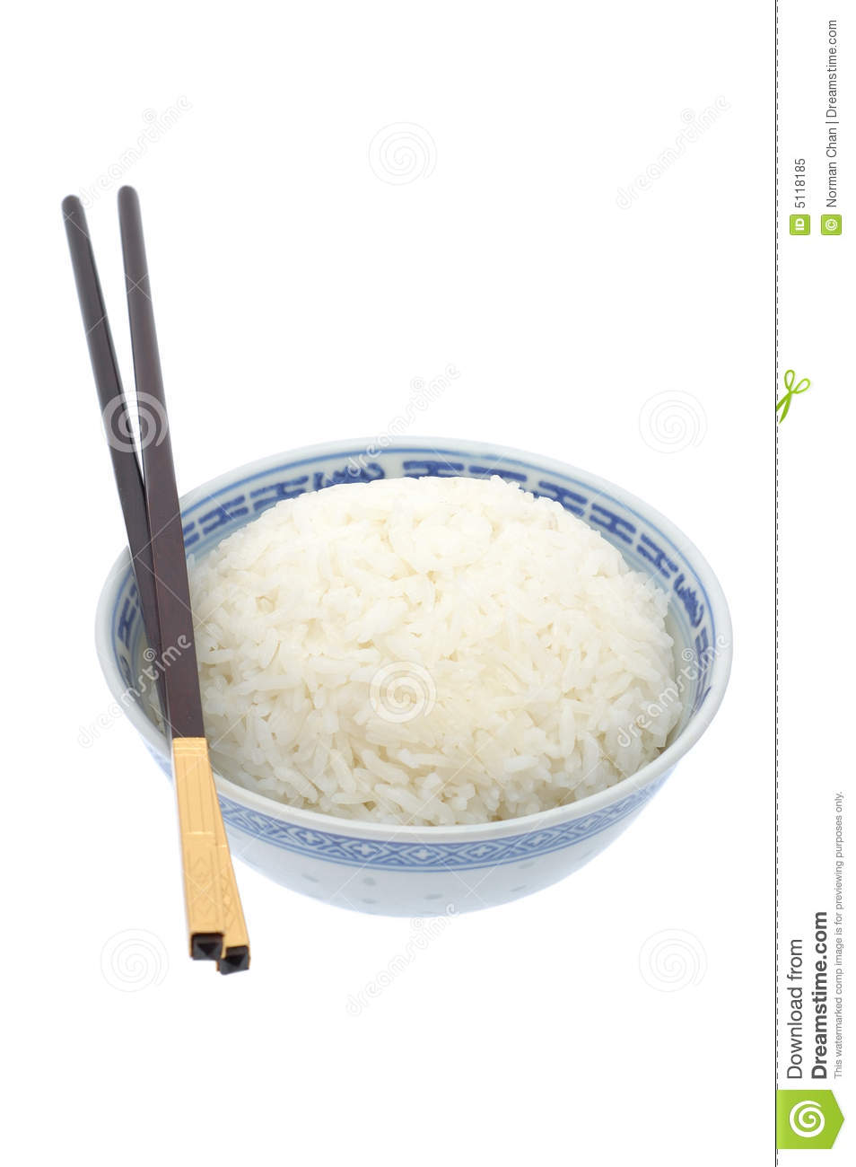 Bowl Of Cooked Rice With Chopsticks Royalty Free Stock ...