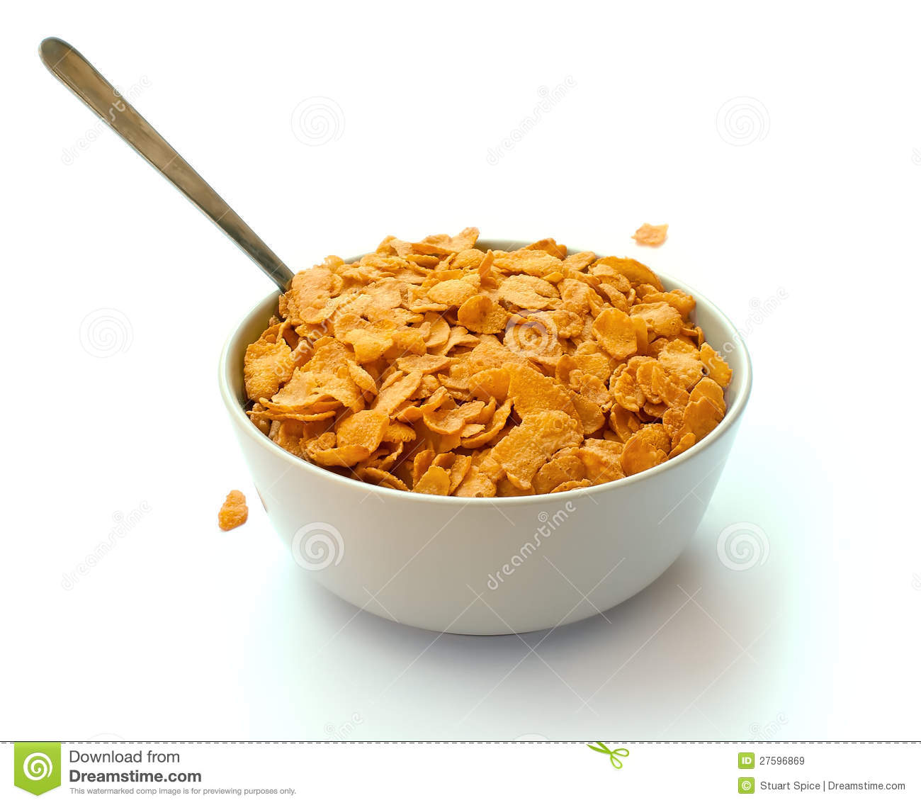 Bowl Of Corn Flake Cereal With A Spoon Stock Image