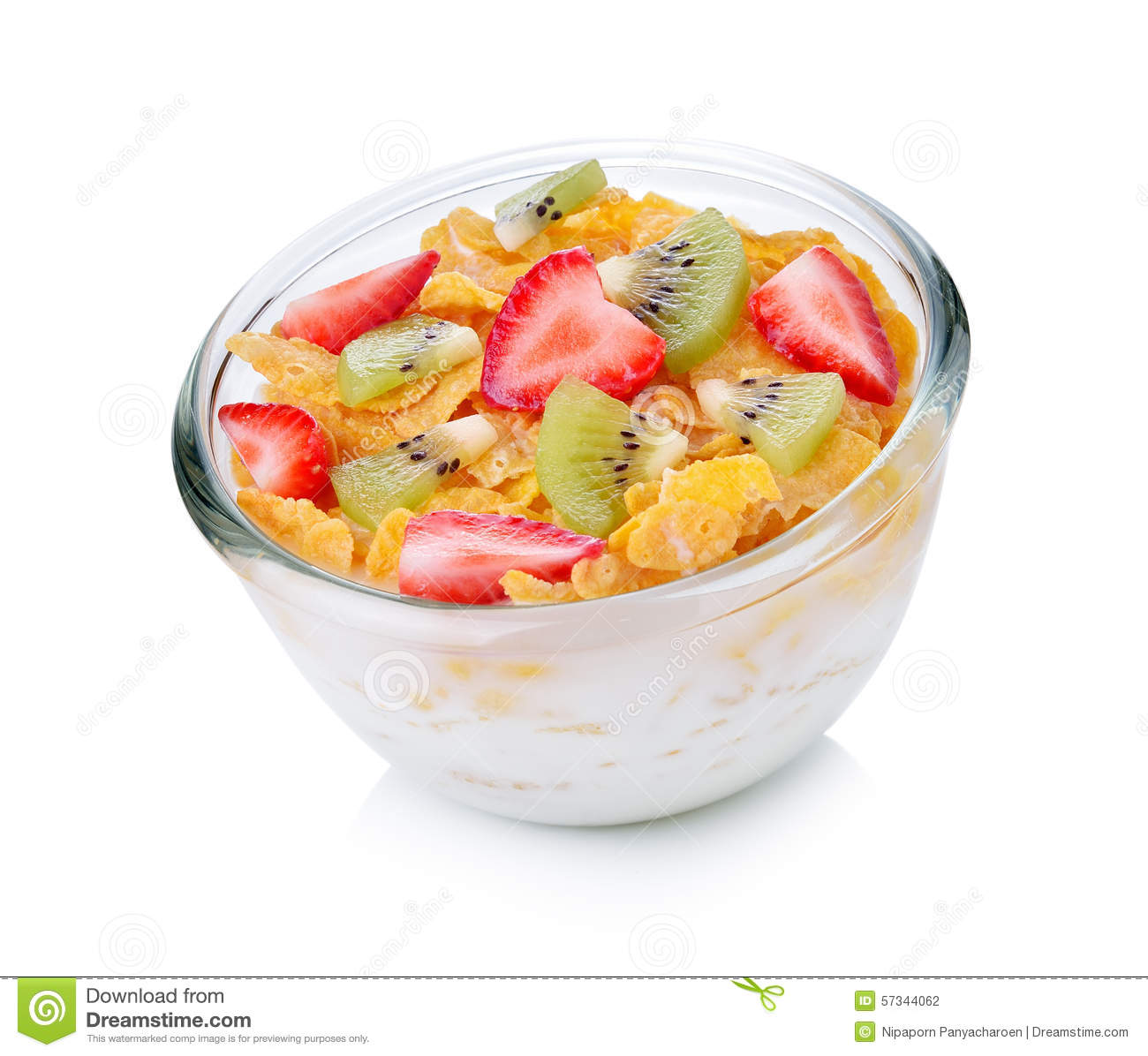 Bowl Of Cornflakes And Milk Bowl Of Corn Fl...