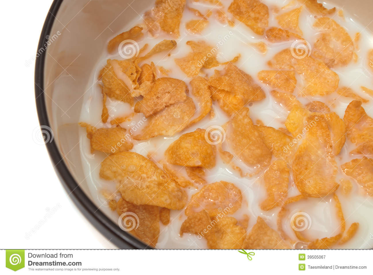 Bowl with corn flakes and milk