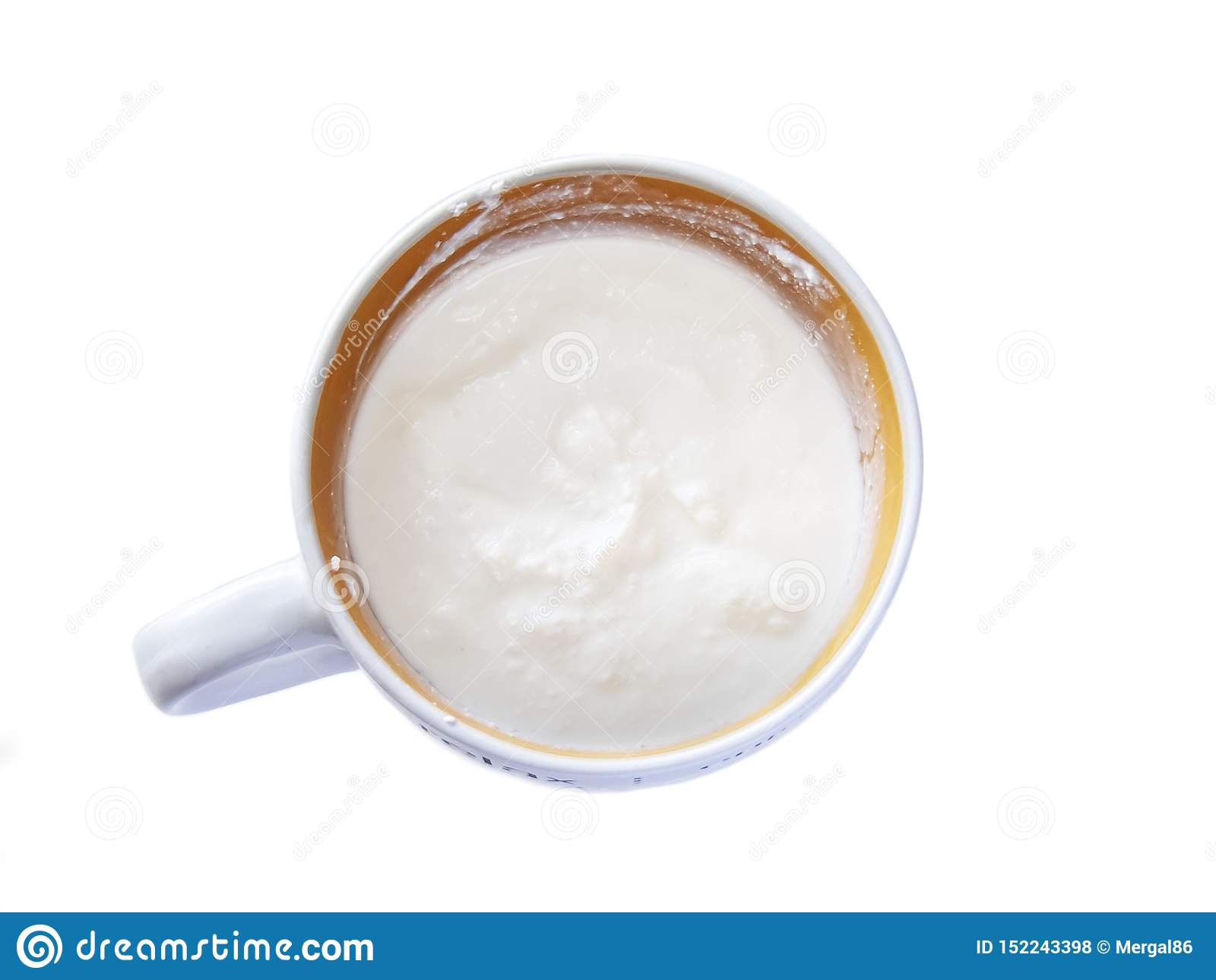 Bowl of cream cheese with sour cream, dip sauce isolated on white background. Clipping path