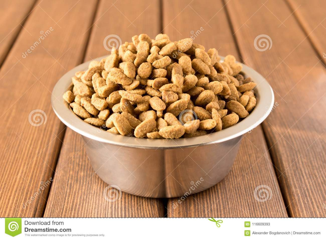 A bowl of dog food on a wooden table