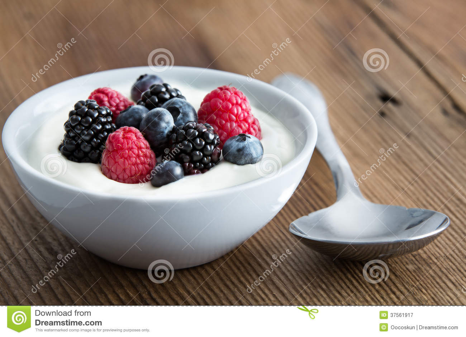 Download Bowl Of Fresh Mixed Berries And Yogurt Stock Image - Image of antioxidant, cuisine: 37561917